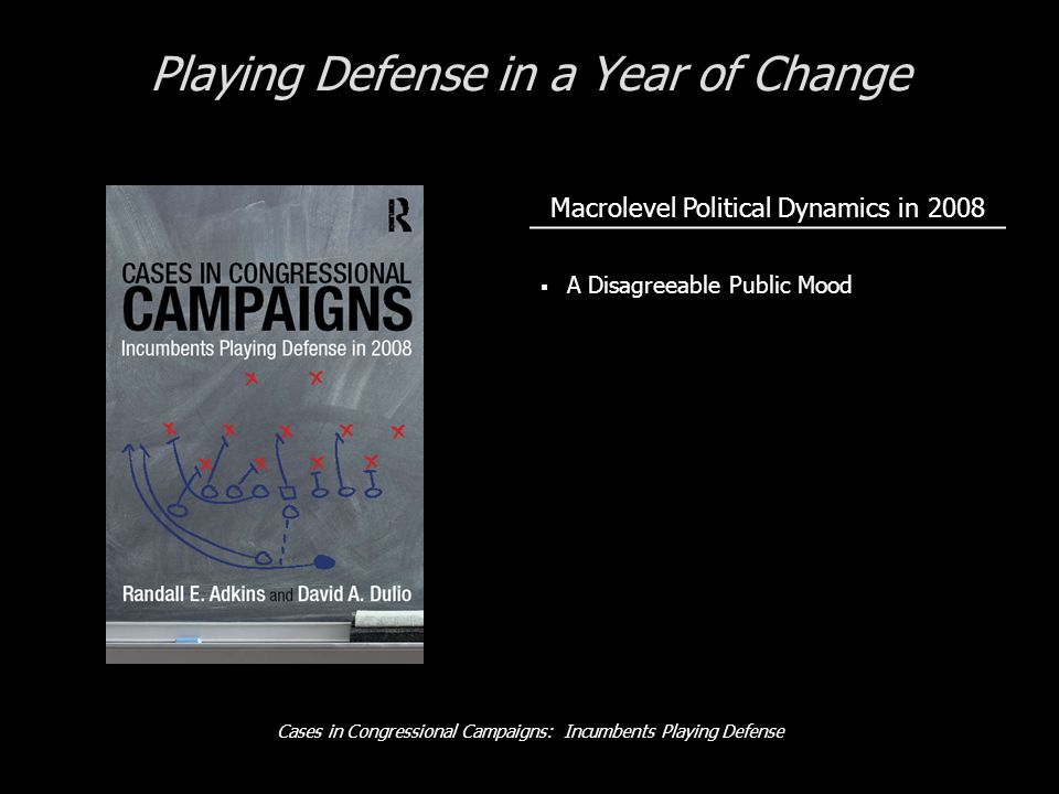 Cases in Congressional Campaigns: Incumbents Playing Defense Playing Defense in a Year of Change Macrolevel Political Dynamics in 2008 A Disagreeable Public Mood