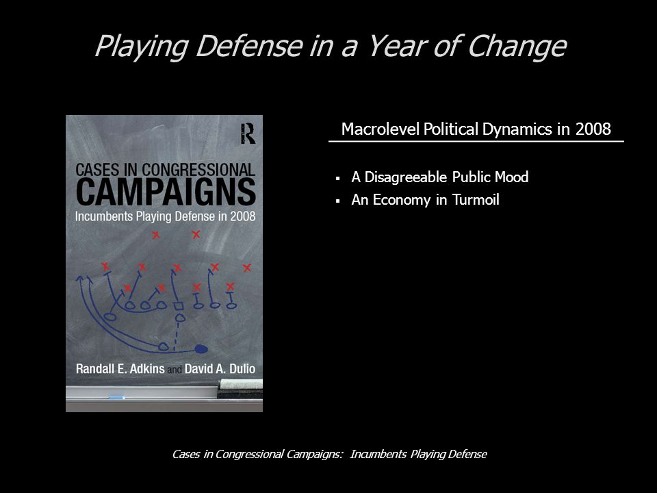Cases in Congressional Campaigns: Incumbents Playing Defense Playing Defense in a Year of Change Macrolevel Political Dynamics in 2008 A Disagreeable Public Mood An Economy in Turmoil