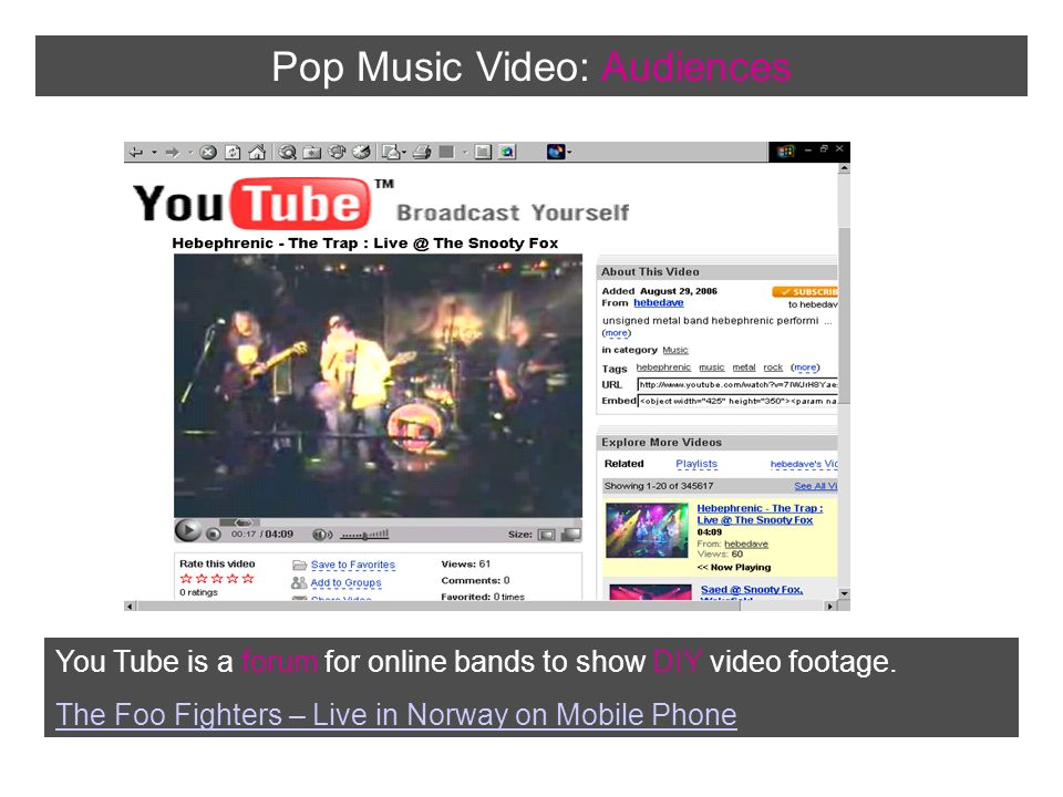 Introducing the music video  Forms and Conventions  - ppt