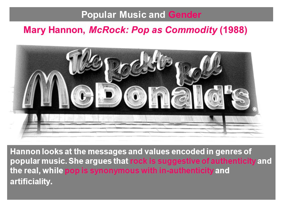 Mary Hannon, McRock: Pop as Commodity (1988) Hannon looks at the messages and values encoded in genres of popular music.