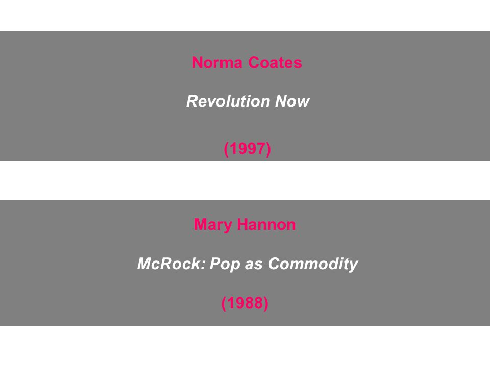 Mary Hannon McRock: Pop as Commodity (1988) Norma Coates Revolution Now (1997)