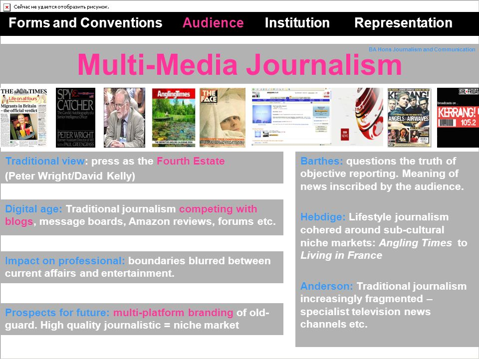 Multi-Media Journalism Forms and Conventions Audience Institution Representation Barthes: questions the truth of objective reporting.