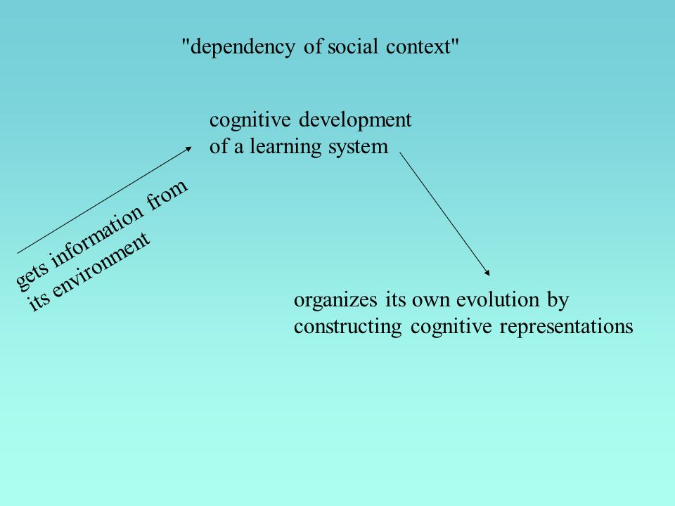 dependency of social context cognitive development of a learning system gets information from its environment organizes its own evolution by constructing cognitive representations