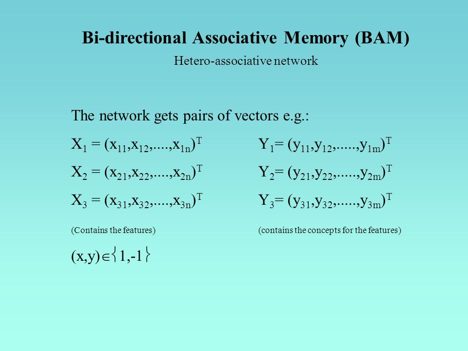 Bi-directional Associative Memory (BAM) Hetero-associative network The network gets pairs of vectors e.g.: X 1 = (x 11,x 12,....,x 1n ) T Y 1 = (y 11,y 12,.....,y 1m ) T X 2 = (x 21,x 22,....,x 2n ) T Y 2 = (y 21,y 22,.....,y 2m ) T X 3 = (x 31,x 32,....,x 3n ) T Y 3 = (y 31,y 32,.....,y 3m ) T (Contains the features) (contains the concepts for the features) (x,y) 1,-1