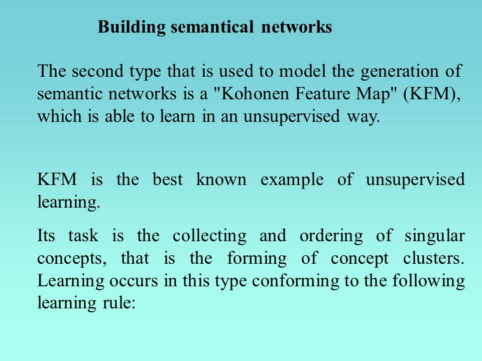 Building semantical networks The second type that is used to model the generation of semantic networks is a Kohonen Feature Map (KFM), which is able to learn in an unsupervised way.