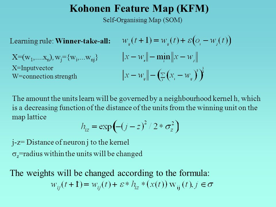 Kohonen Feature Map (KFM) Self-Organising Map (SOM) Learning rule: Winner-take-all: The amount the units learn will be governed by a neighbourhood kernel h, which is a decreasing function of the distance of the units from the winning unit on the map lattice X=(w 1,....x n ), w j ={w i,...w nj } X=Inputvector W=connection strength The weights will be changed according to the formula: j-z= Distance of neuron j to the kernel z =radius within the units will be changed