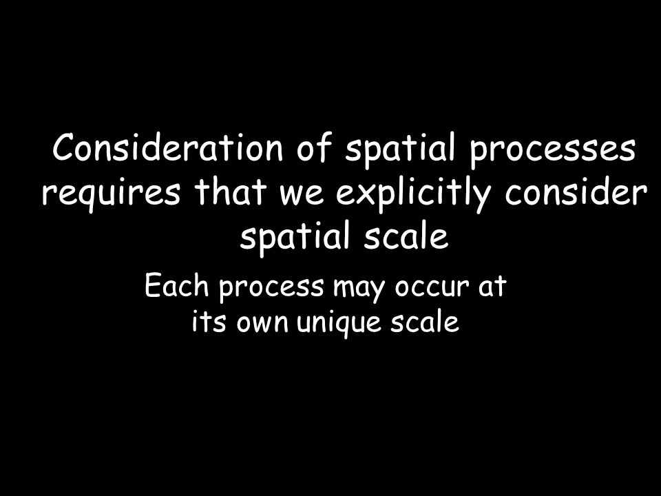 Consideration of spatial processes requires that we explicitly consider spatial scale Each process may occur at its own unique scale