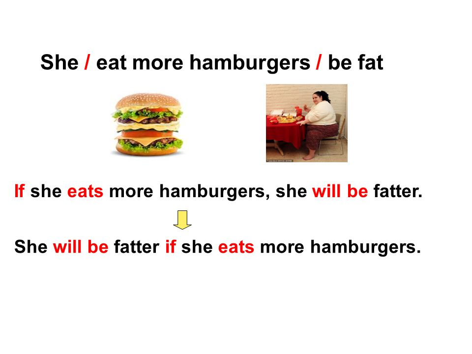 She / eat more hamburgers / be fat If she eats more hamburgers, she will be fatter.