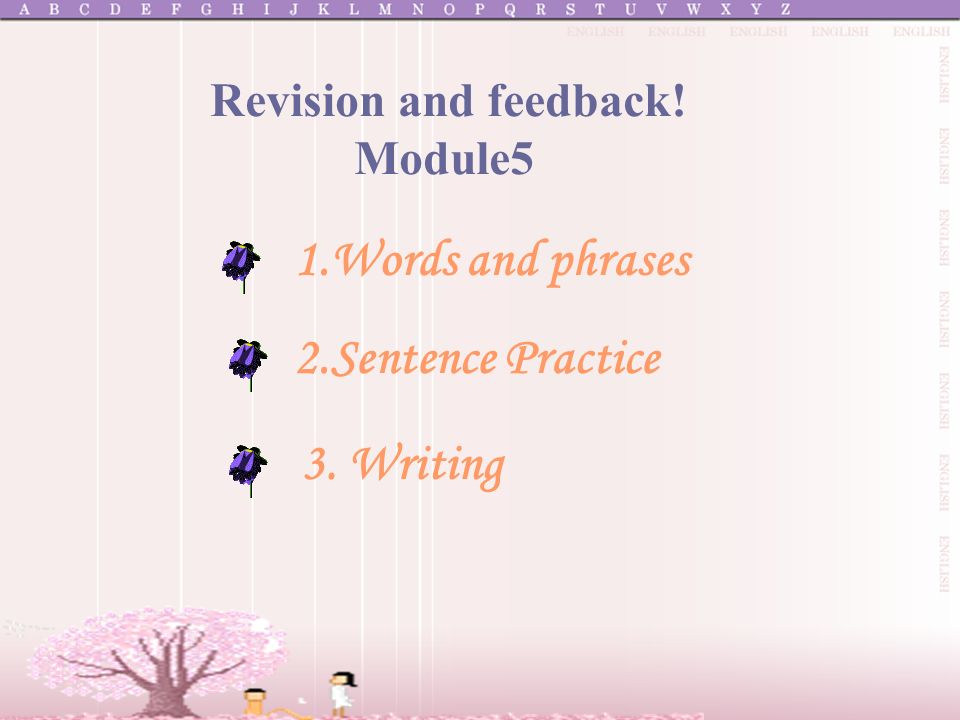 1.Words and phrases 2.Sentence Practice 3. Writing Revision and feedback! Module5