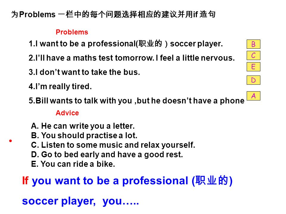 Problems if Problems 1.I want to be a professional( soccer player.