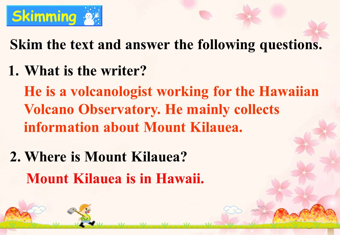Skim the text and answer the following questions. 1.What is the writer.