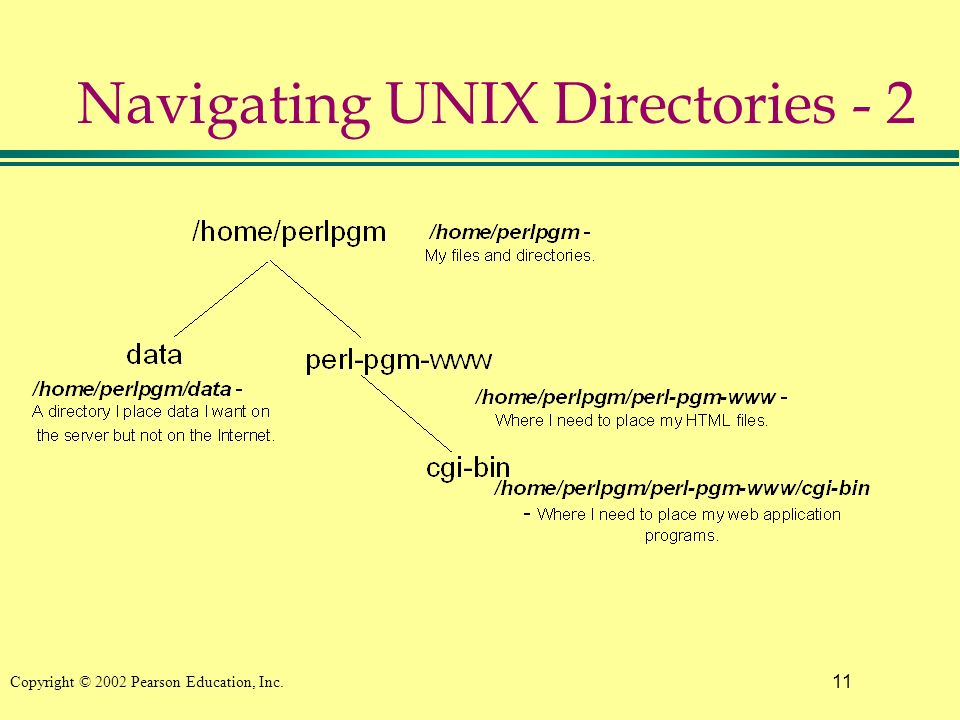 11 Copyright © 2002 Pearson Education, Inc. Navigating UNIX Directories - 2