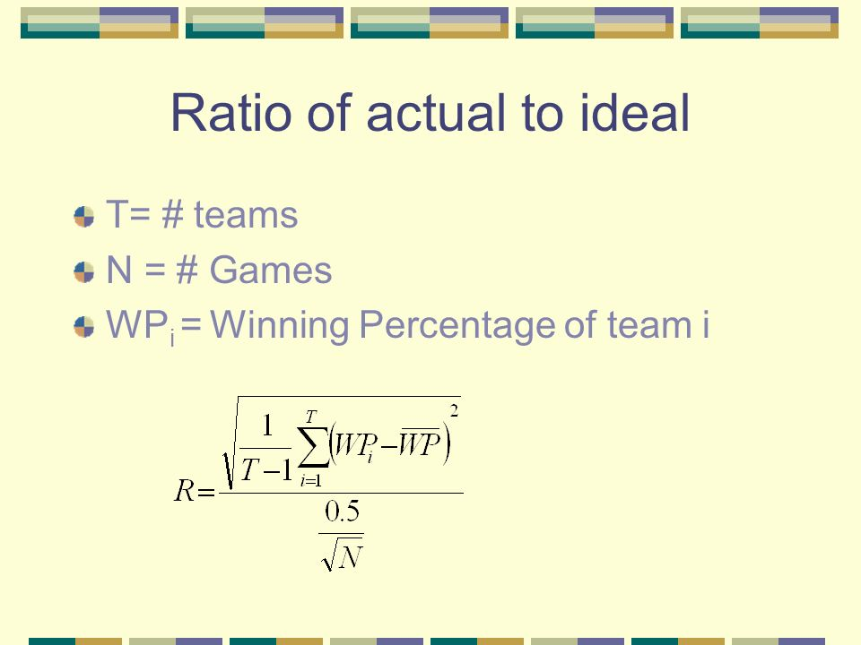 Ratio of actual to ideal T= # teams N = # Games WP i = Winning Percentage of team i