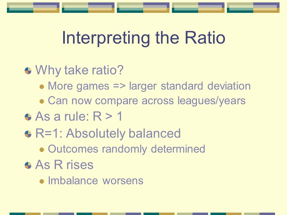 Interpreting the Ratio Why take ratio.