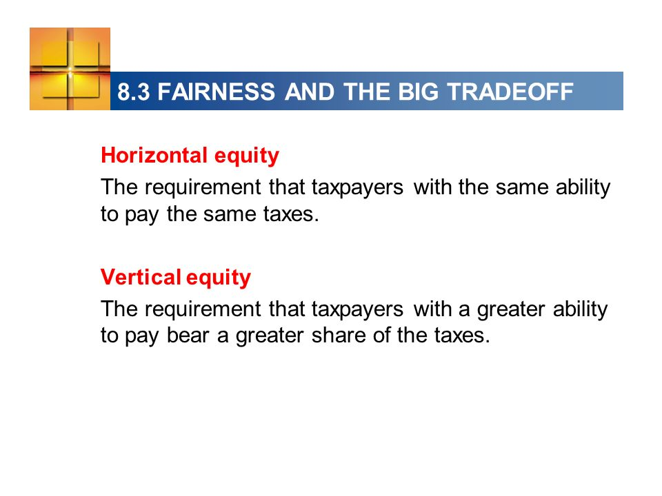 Horizontal equity The requirement that taxpayers with the same ability to pay the same taxes.