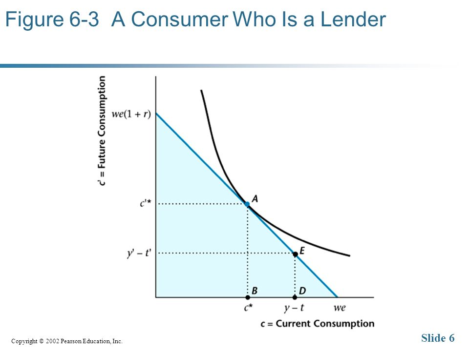 Copyright © 2002 Pearson Education, Inc. Slide 6 Figure 6-3 A Consumer Who Is a Lender