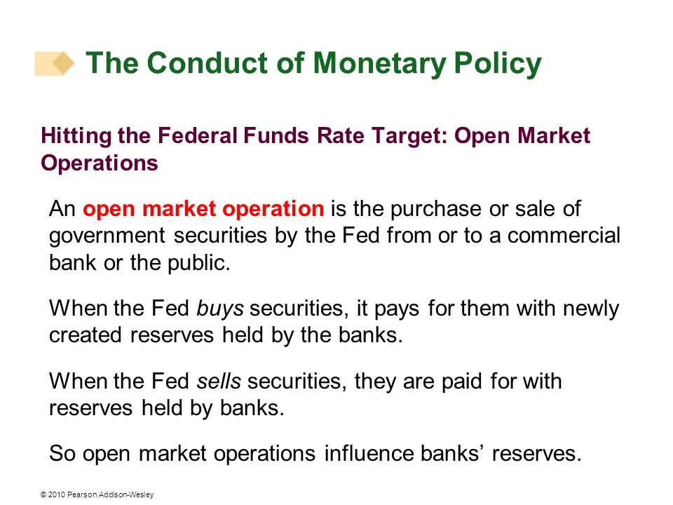 © 2010 Pearson Addison-Wesley Hitting the Federal Funds Rate Target: Open Market Operations An open market operation is the purchase or sale of government securities by the Fed from or to a commercial bank or the public.
