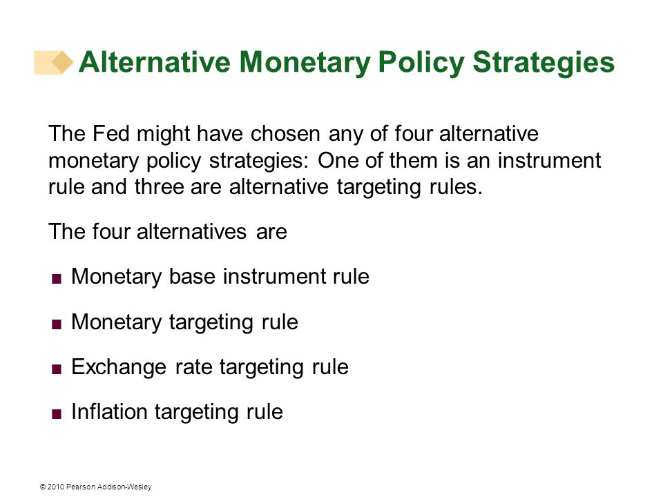 © 2010 Pearson Addison-Wesley Alternative Monetary Policy Strategies The Fed might have chosen any of four alternative monetary policy strategies: One of them is an instrument rule and three are alternative targeting rules.