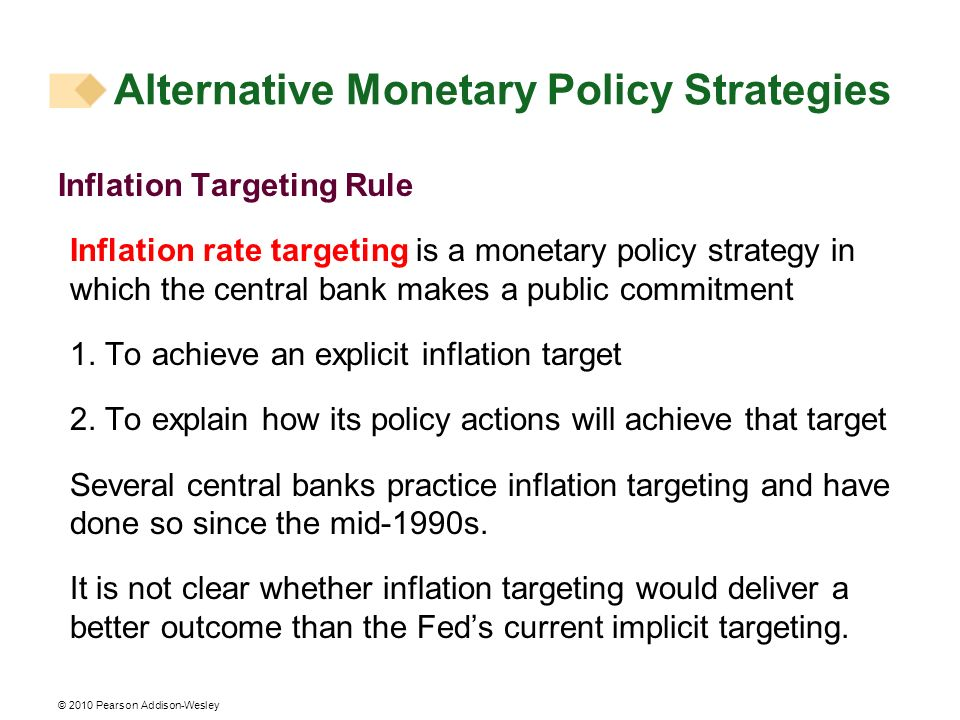 © 2010 Pearson Addison-Wesley Inflation Targeting Rule Inflation rate targeting is a monetary policy strategy in which the central bank makes a public commitment 1.