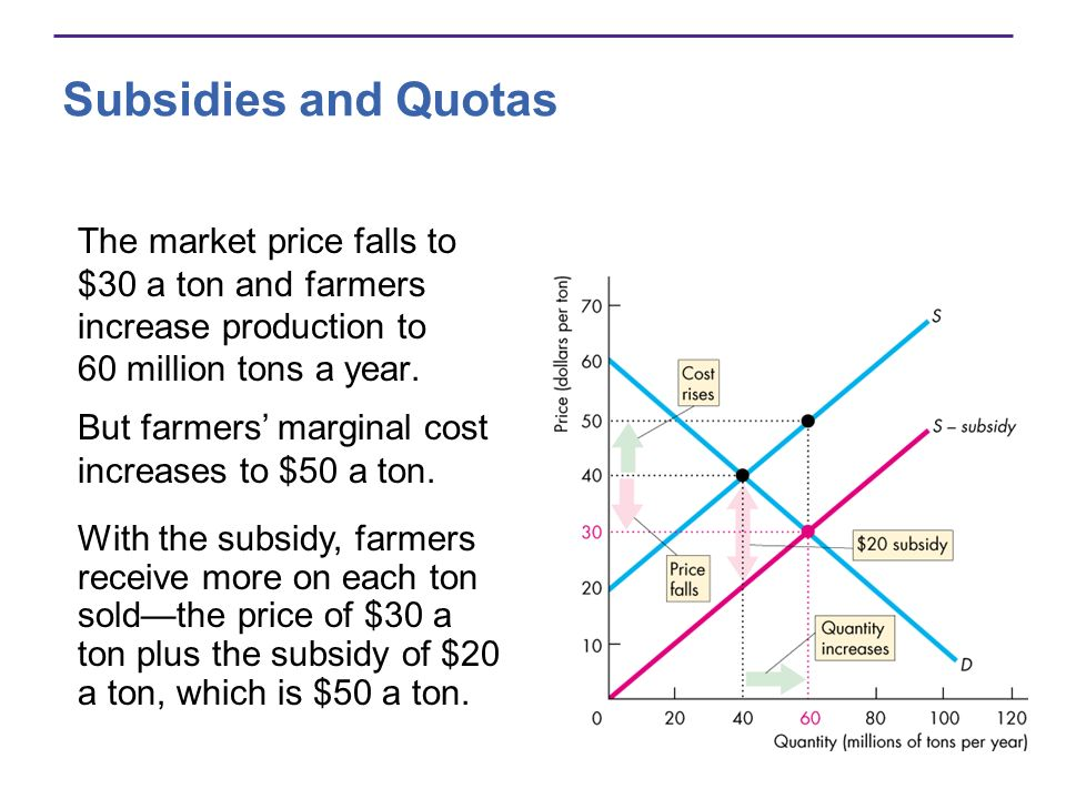 Subsidies and Quotas The market price falls to $30 a ton and farmers increase production to 60 million tons a year.