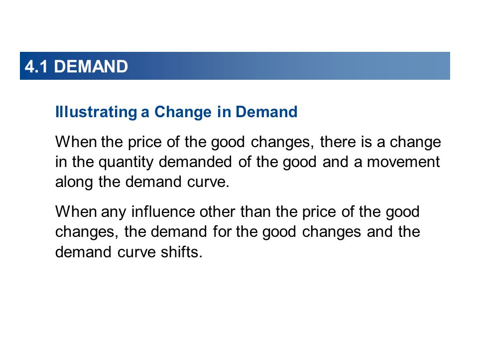 4.1 DEMAND Illustrating a Change in Demand When the price of the good changes, there is a change in the quantity demanded of the good and a movement along the demand curve.