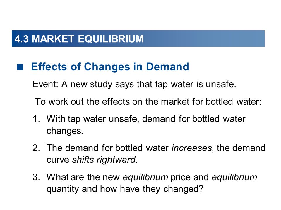 4.3 MARKET EQUILIBRIUM Effects of Changes in Demand Event: A new study says that tap water is unsafe.