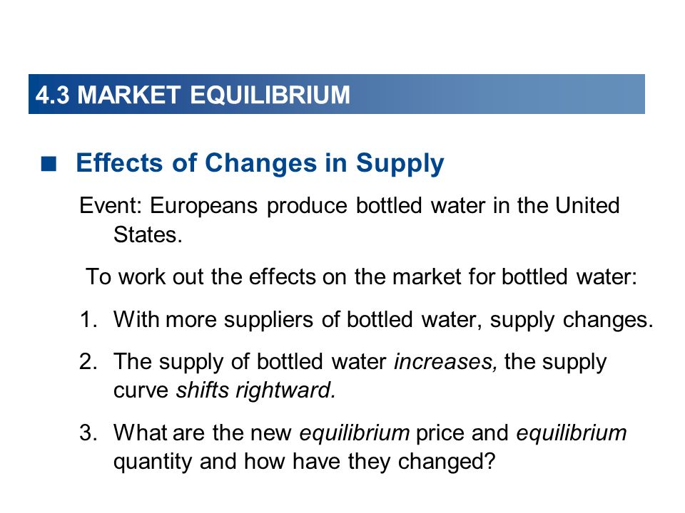 4.3 MARKET EQUILIBRIUM Effects of Changes in Supply Event: Europeans produce bottled water in the United States.