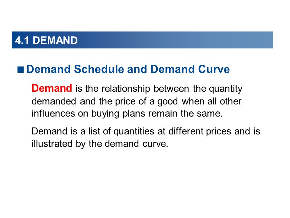 4.1 DEMAND Demand Schedule and Demand Curve Demand is the relationship between the quantity demanded and the price of a good when all other influences on buying plans remain the same.
