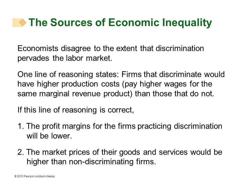 © 2010 Pearson Addison-Wesley Economists disagree to the extent that discrimination pervades the labor market.