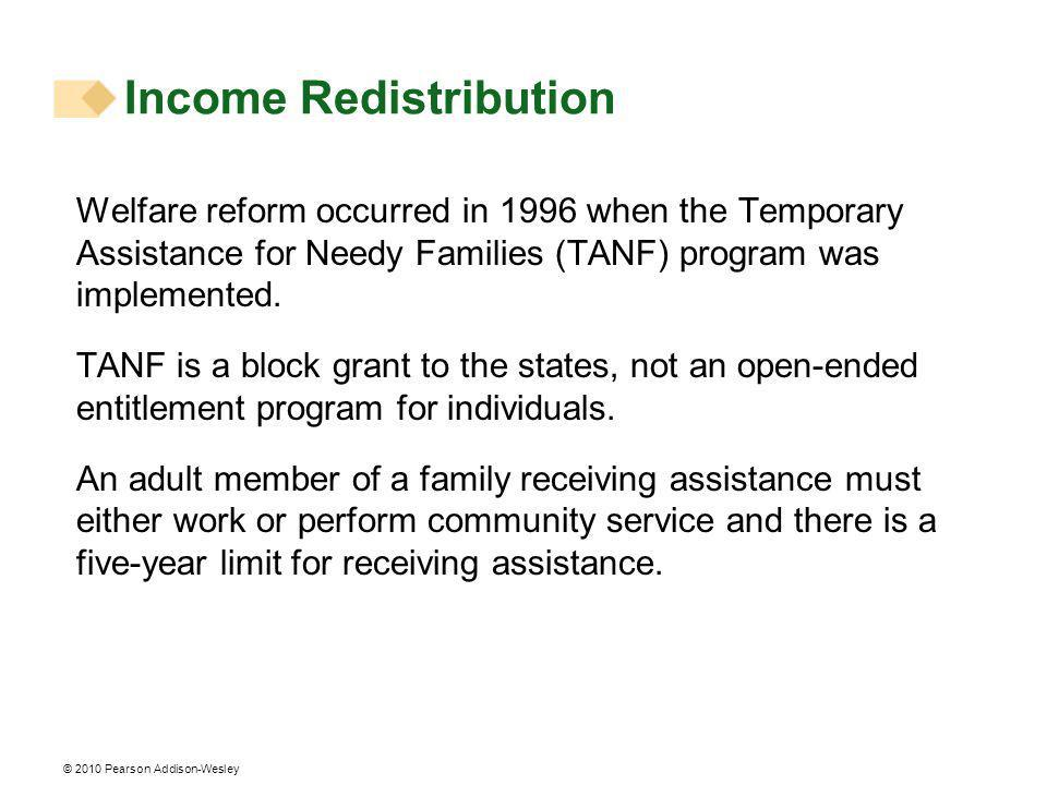 © 2010 Pearson Addison-Wesley Welfare reform occurred in 1996 when the Temporary Assistance for Needy Families (TANF) program was implemented.