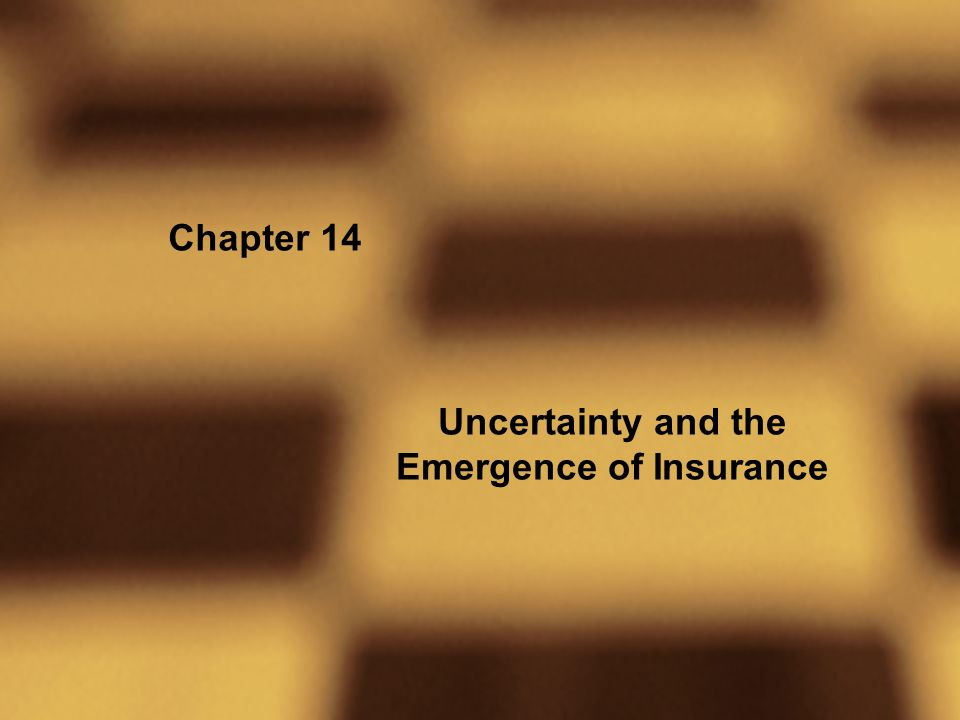 Chapter 14 Uncertainty and the Emergence of Insurance
