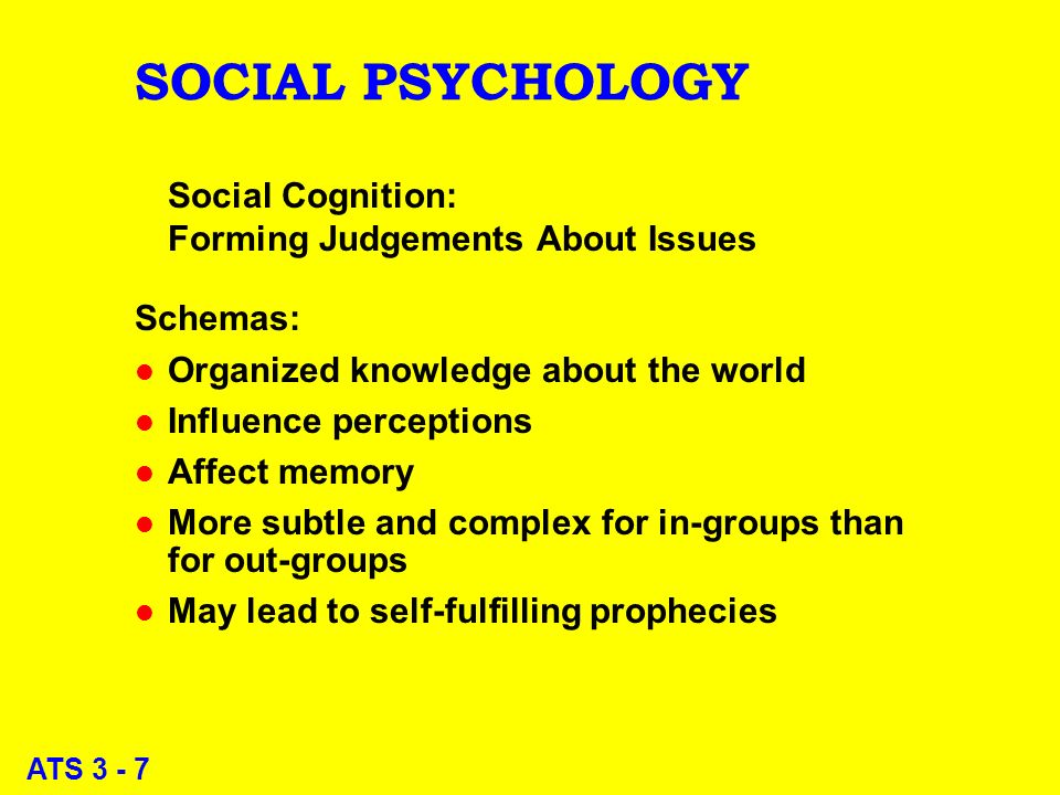 ATS 3 - 7 SOCIAL PSYCHOLOGY Social Cognition: Forming Judgements About Issues Schemas: l Organized knowledge about the world l Influence perceptions l Affect memory l More subtle and complex for in-groups than for out-groups l May lead to self-fulfilling prophecies