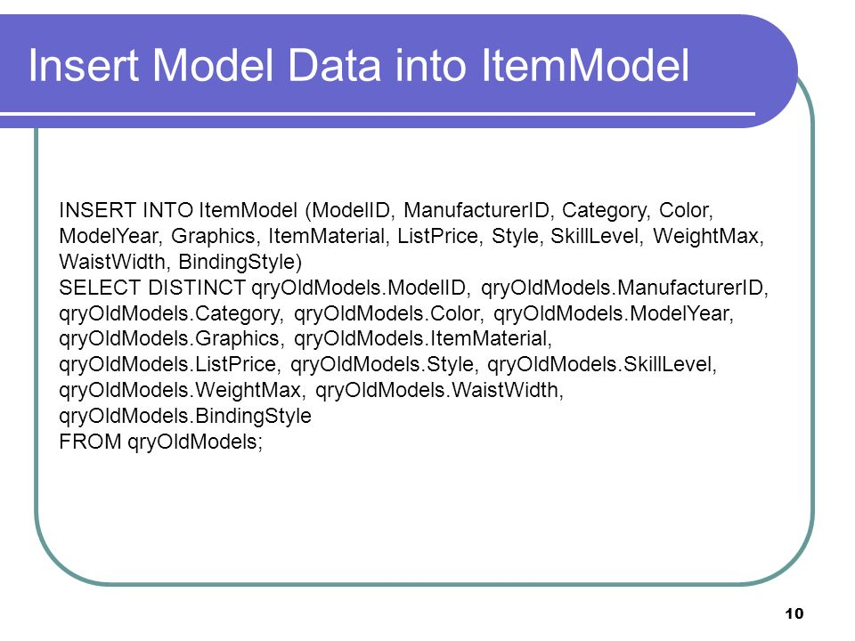10 Insert Model Data into ItemModel INSERT INTO ItemModel (ModelID, ManufacturerID, Category, Color, ModelYear, Graphics, ItemMaterial, ListPrice, Style, SkillLevel, WeightMax, WaistWidth, BindingStyle) SELECT DISTINCT qryOldModels.ModelID, qryOldModels.ManufacturerID, qryOldModels.Category, qryOldModels.Color, qryOldModels.ModelYear, qryOldModels.Graphics, qryOldModels.ItemMaterial, qryOldModels.ListPrice, qryOldModels.Style, qryOldModels.SkillLevel, qryOldModels.WeightMax, qryOldModels.WaistWidth, qryOldModels.BindingStyle FROM qryOldModels;