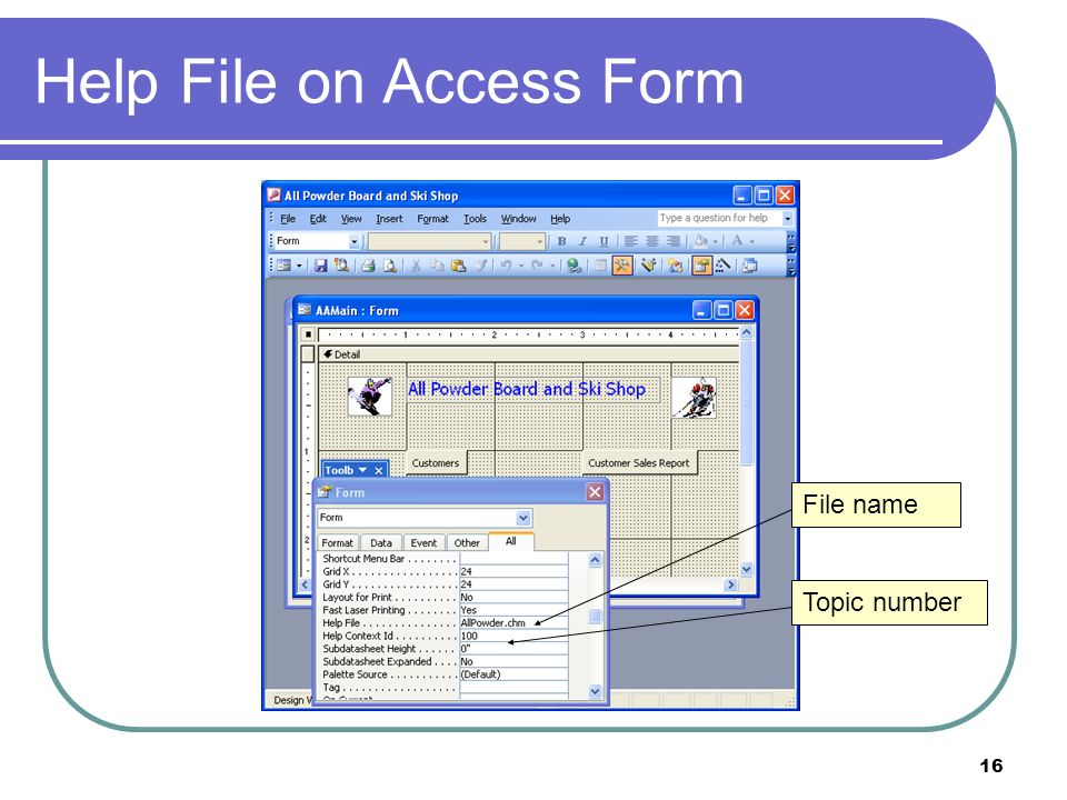 16 Help File on Access Form File name Topic number