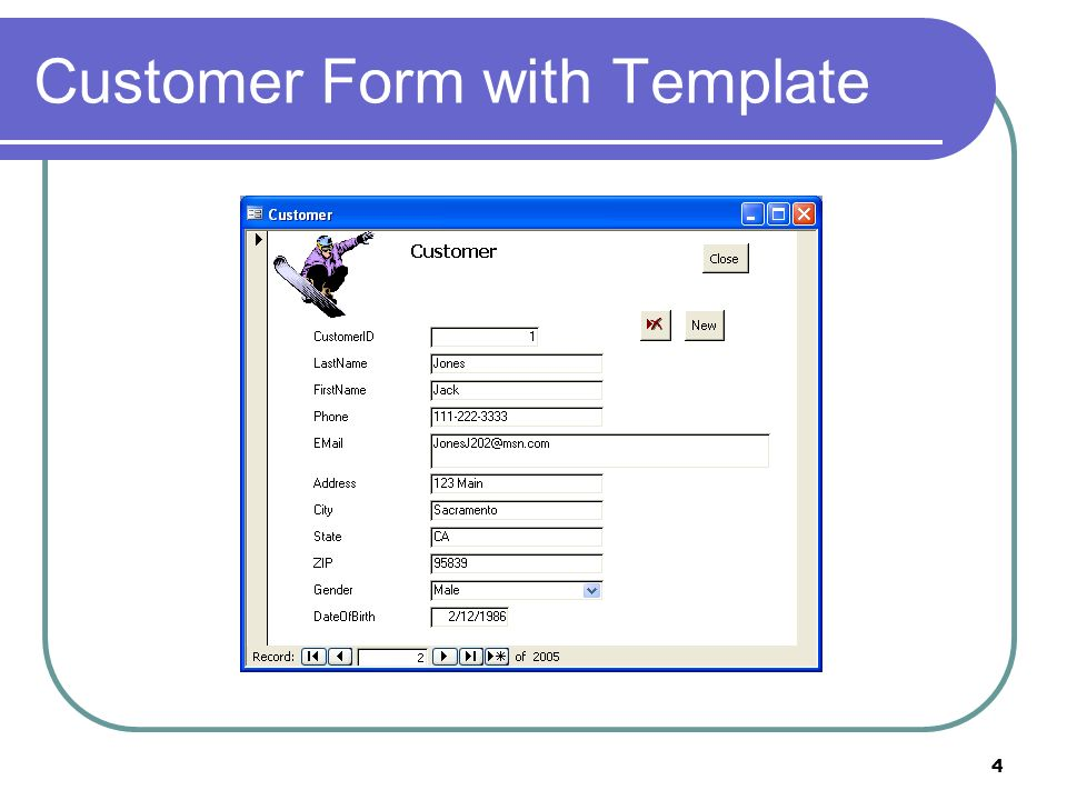 4 Customer Form with Template