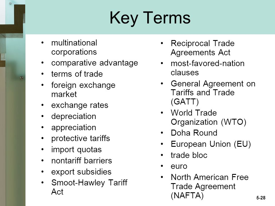 Key Terms multinational corporations comparative advantage terms of trade foreign exchange market exchange rates depreciation appreciation protective tariffs import quotas nontariff barriers export subsidies Smoot-Hawley Tariff Act Reciprocal Trade Agreements Act most-favored-nation clauses General Agreement on Tariffs and Trade (GATT) World Trade Organization (WTO) Doha Round European Union (EU) trade bloc euro North American Free Trade Agreement (NAFTA) 5-28