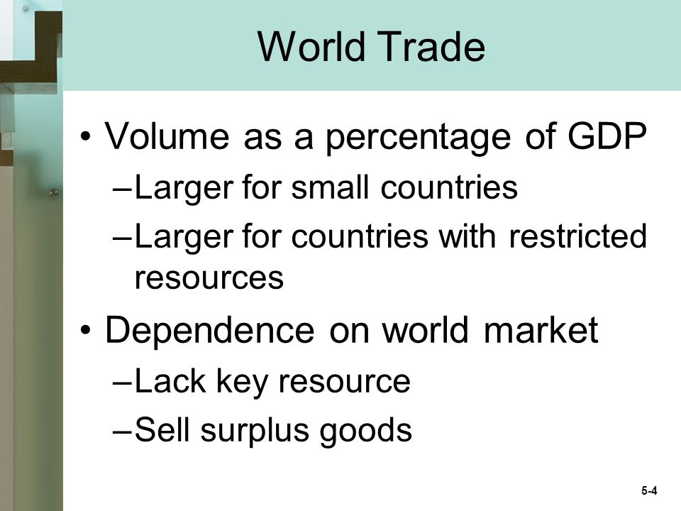 World Trade Volume as a percentage of GDP –Larger for small countries –Larger for countries with restricted resources Dependence on world market –Lack key resource –Sell surplus goods 5-4