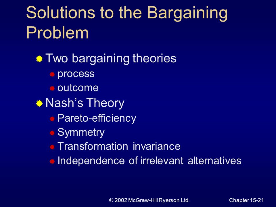 © 2002 McGraw-Hill Ryerson Ltd.Chapter Figure 15.7 The Bargaining Problem and Nash Solution F U F U S A N UNUN fNfN d T d f0f0 C U0U0 f1f1 U1U1 A fNfN UNUN N f2f2 U2U2 B The bargaining problem The Nash solution