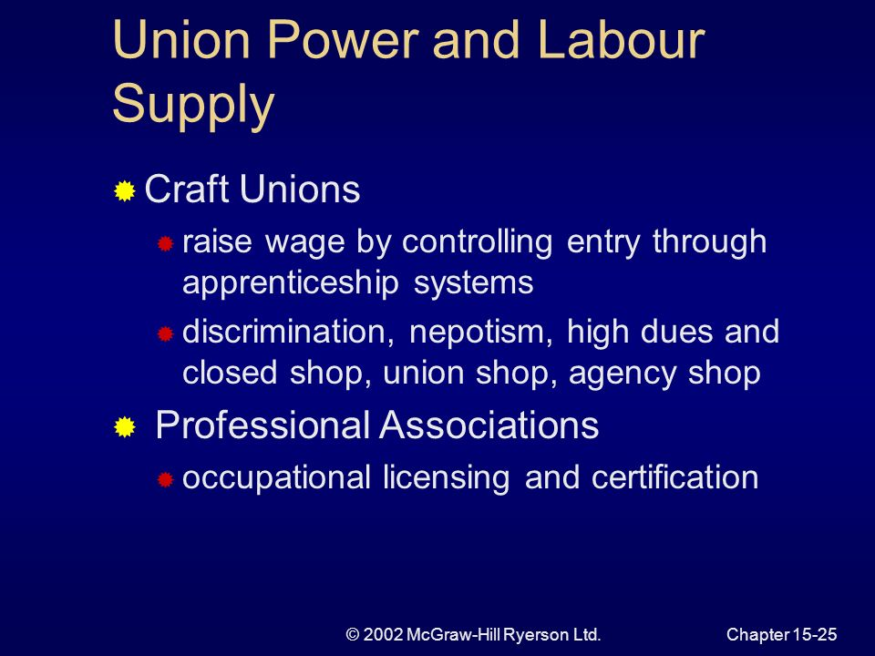 © 2002 McGraw-Hill Ryerson Ltd.Chapter Union Bargaining Power Two meanings power is related to elasticity ability to raise wages