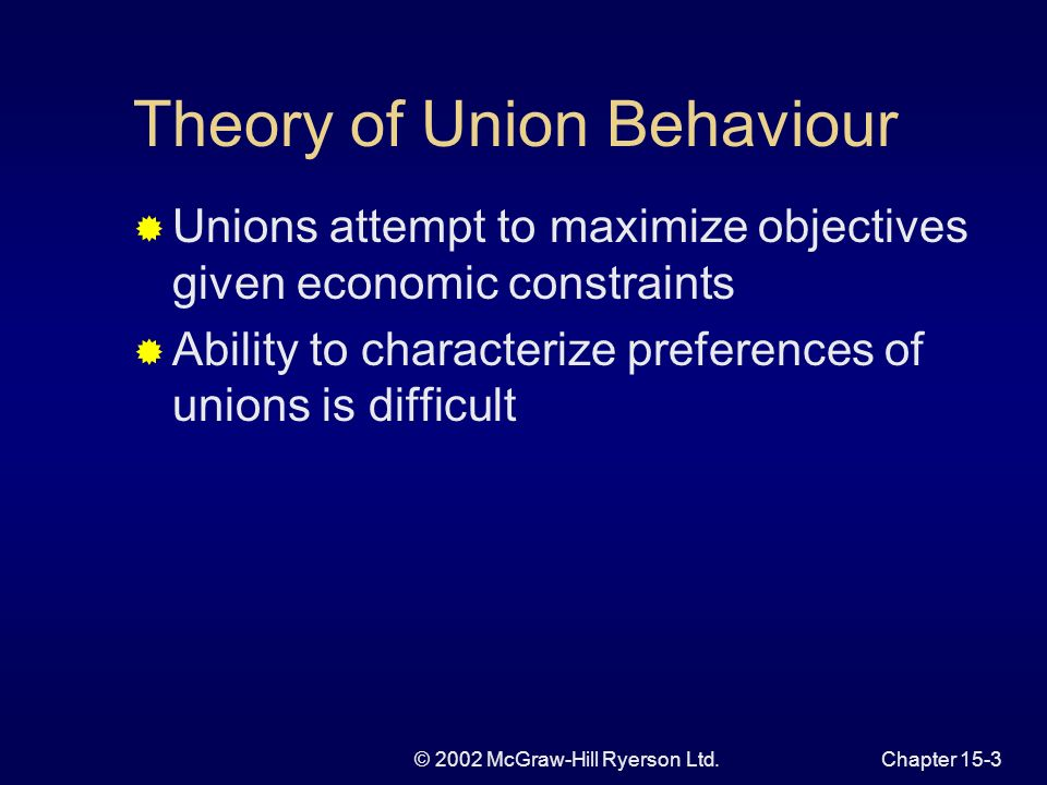 © 2002 McGraw-Hill Ryerson Ltd.Chapter 15-2 Chapter Focus Union behaviour Interaction between firms and unions Inefficient production decisions Inefficient union practices Bargaining power