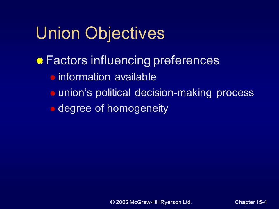 © 2002 McGraw-Hill Ryerson Ltd.Chapter 15-3 Theory of Union Behaviour Unions attempt to maximize objectives given economic constraints Ability to characterize preferences of unions is difficult