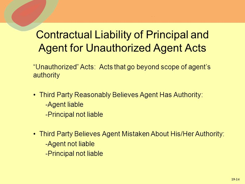 19-14 Contractual Liability of Principal and Agent for Unauthorized Agent Acts Unauthorized Acts: Acts that go beyond scope of agents authority Third Party Reasonably Believes Agent Has Authority: -Agent liable -Principal not liable Third Party Believes Agent Mistaken About His/Her Authority: -Agent not liable -Principal not liable