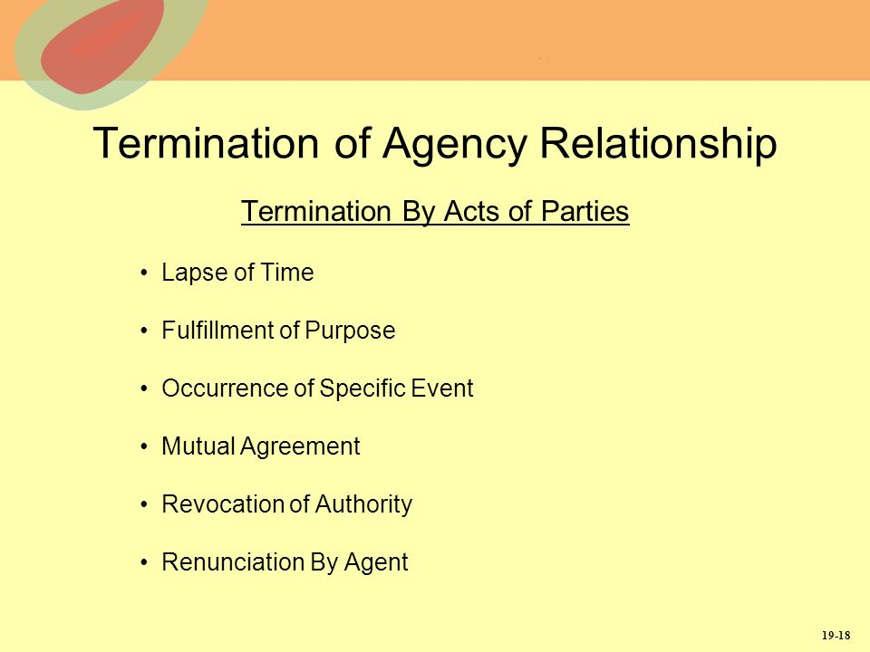 19-18 Termination of Agency Relationship Termination By Acts of Parties Lapse of Time Fulfillment of Purpose Occurrence of Specific Event Mutual Agreement Revocation of Authority Renunciation By Agent