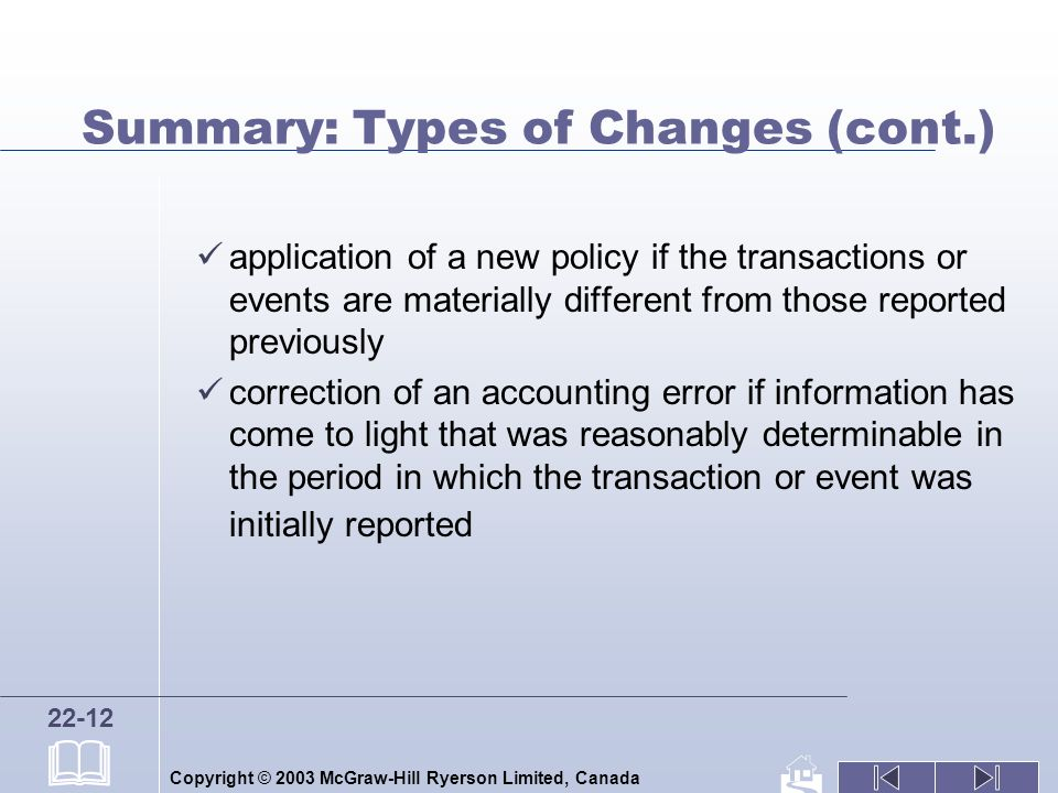 Copyright © 2003 McGraw-Hill Ryerson Limited, Canada 22-12 Summary: Types of Changes (cont.) application of a new policy if the transactions or events are materially different from those reported previously correction of an accounting error if information has come to light that was reasonably determinable in the period in which the transaction or event was initially reported