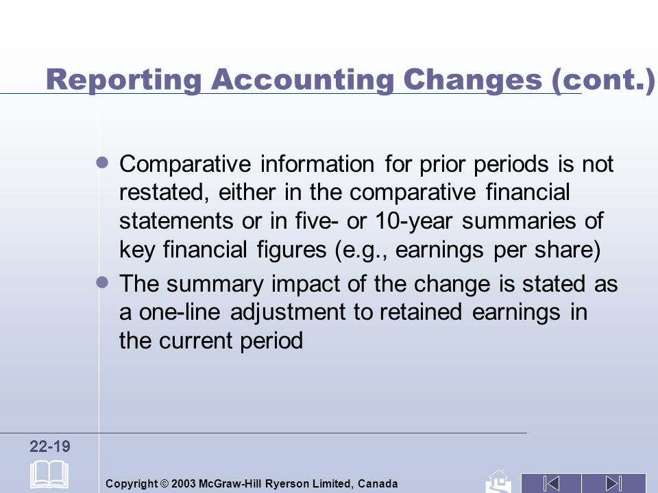 Copyright © 2003 McGraw-Hill Ryerson Limited, Canada 22-19 Reporting Accounting Changes (cont.) Comparative information for prior periods is not restated, either in the comparative financial statements or in five- or 10-year summaries of key financial figures (e.g., earnings per share) The summary impact of the change is stated as a one-line adjustment to retained earnings in the current period