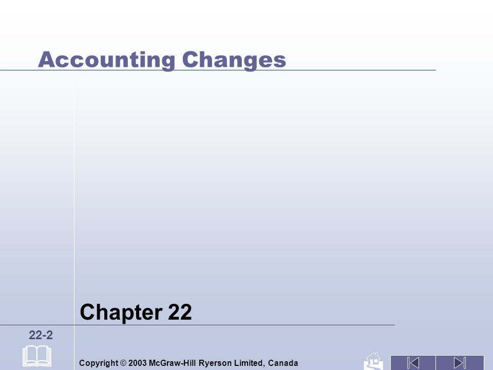 Copyright © 2003 McGraw-Hill Ryerson Limited, Canada 22-2 Accounting Changes Chapter 22