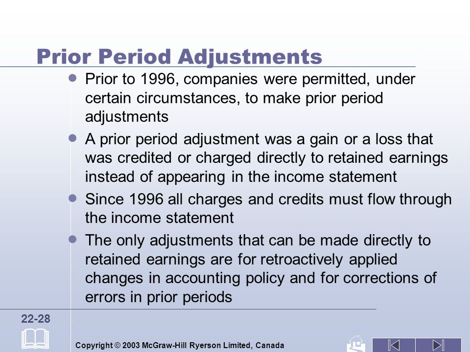 Copyright © 2003 McGraw-Hill Ryerson Limited, Canada 22-28 Prior Period Adjustments Prior to 1996, companies were permitted, under certain circumstances, to make prior period adjustments A prior period adjustment was a gain or a loss that was credited or charged directly to retained earnings instead of appearing in the income statement Since 1996 all charges and credits must flow through the income statement The only adjustments that can be made directly to retained earnings are for retroactively applied changes in accounting policy and for corrections of errors in prior periods