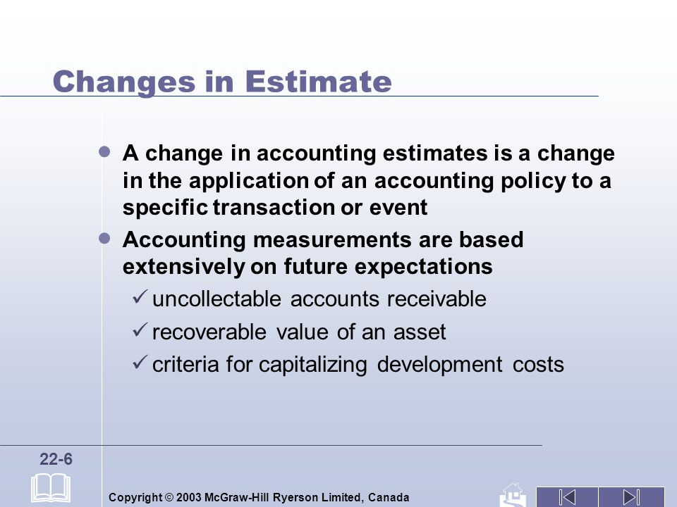 Copyright © 2003 McGraw-Hill Ryerson Limited, Canada 22-6 Changes in Estimate A change in accounting estimates is a change in the application of an accounting policy to a specific transaction or event Accounting measurements are based extensively on future expectations uncollectable accounts receivable recoverable value of an asset criteria for capitalizing development costs