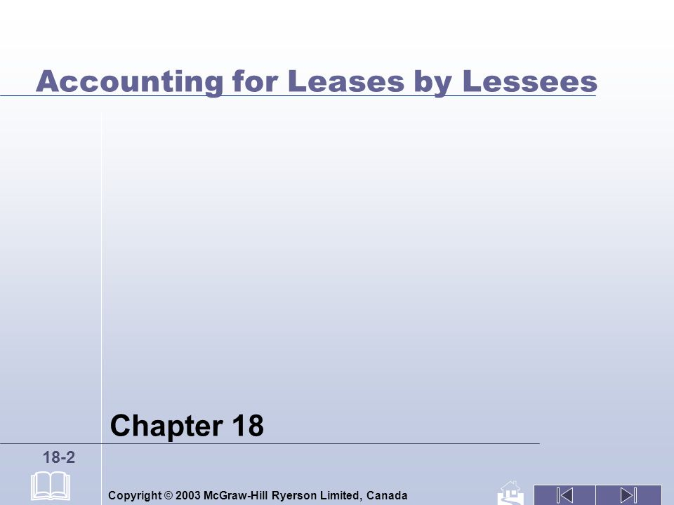 Copyright © 2003 McGraw-Hill Ryerson Limited, Canada 18-2 Accounting for Leases by Lessees Chapter 18