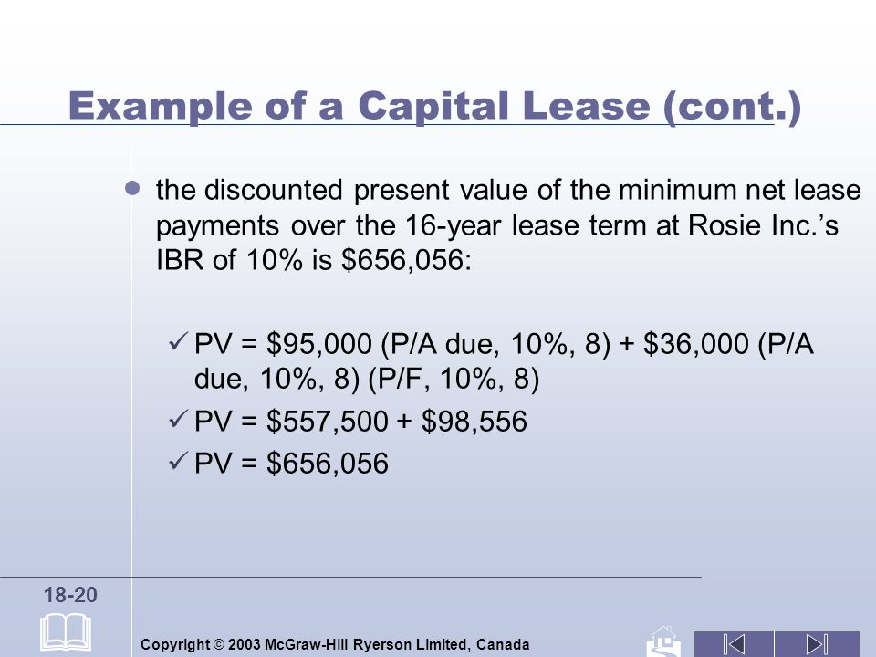 Copyright © 2003 McGraw-Hill Ryerson Limited, Canada 18-20 Example of a Capital Lease (cont.) the discounted present value of the minimum net lease payments over the 16-year lease term at Rosie Inc.s IBR of 10% is $656,056: PV = $95,000 (P/A due, 10%, 8) + $36,000 (P/A due, 10%, 8) (P/F, 10%, 8) PV = $557,500 + $98,556 PV = $656,056